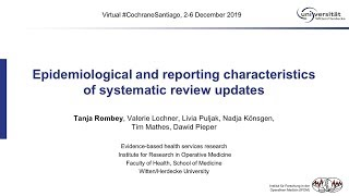 Epidemiological and reporting characteristics of systematic review updates