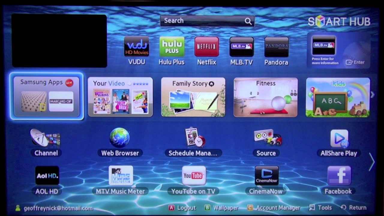 how to search for apps on samsung smart tv