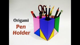 DIY- Paper Pen/Pencil holder | How to make Origami Pen Stand | Craftastic