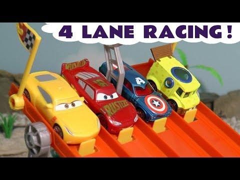 Cars Lightning McQueen Hot Wheels 4 Lane Racing with Spongebob and funny Funlings Cars TT4U