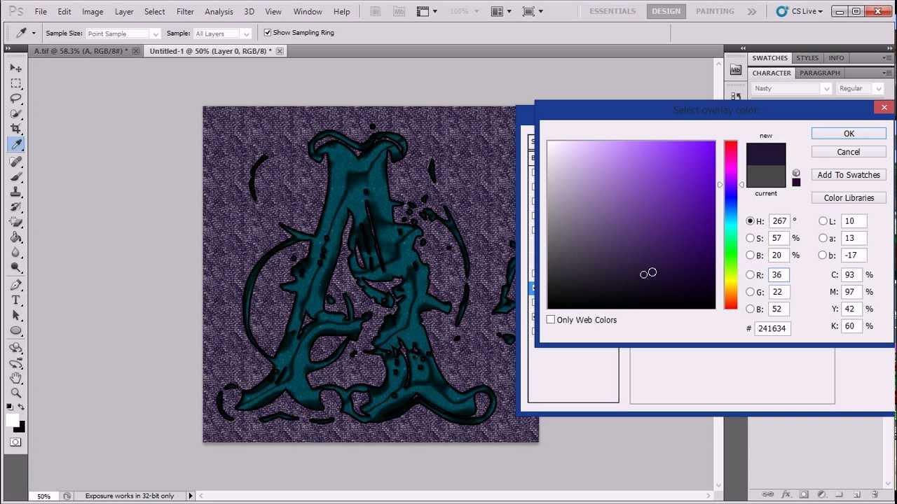 تصميم صورة شخصية للفيسبوك حرف بالفوتوشوب Photoshop Cs5 Youtube