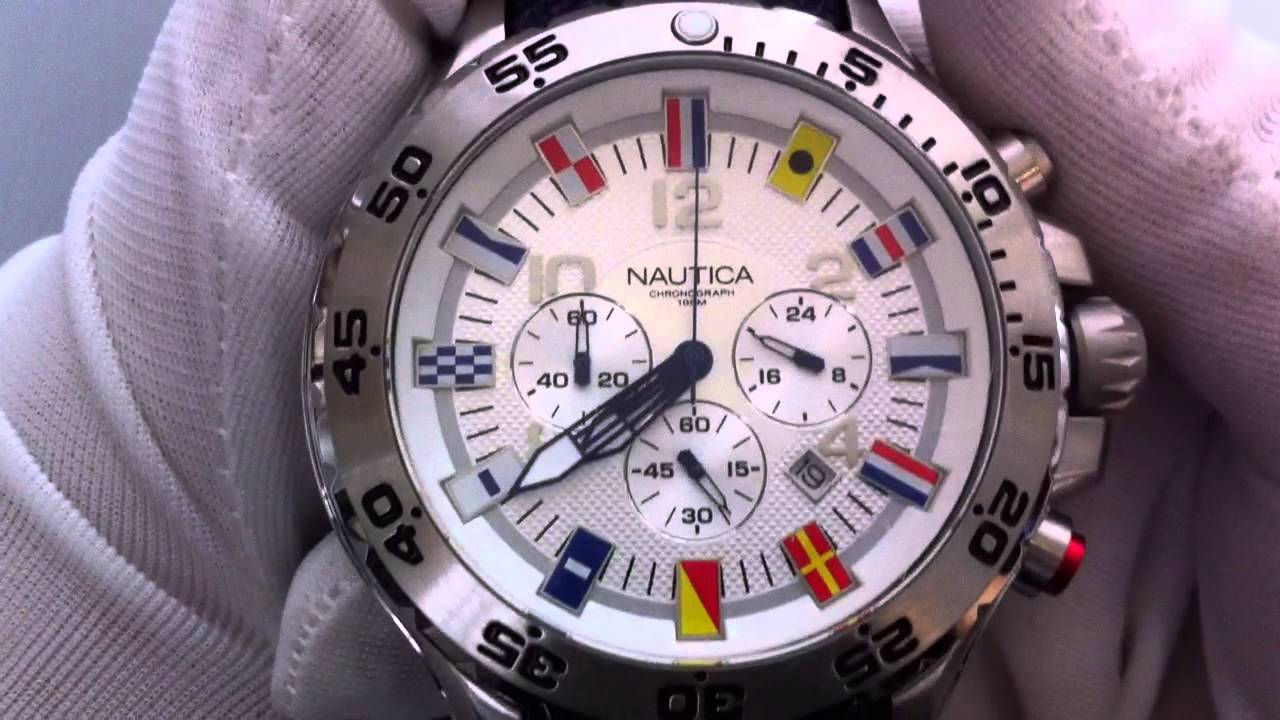 d0968ef7009 Men s Blue Nautica NST Chronograph Flag Watch N16530G - YouTube