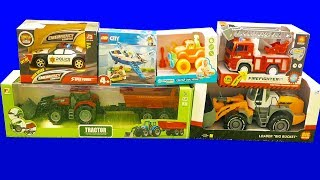 Fire Truck, Police Car, Tractor, Lego - Toys Unboxing and Review / Car Toys Construction Vehicles