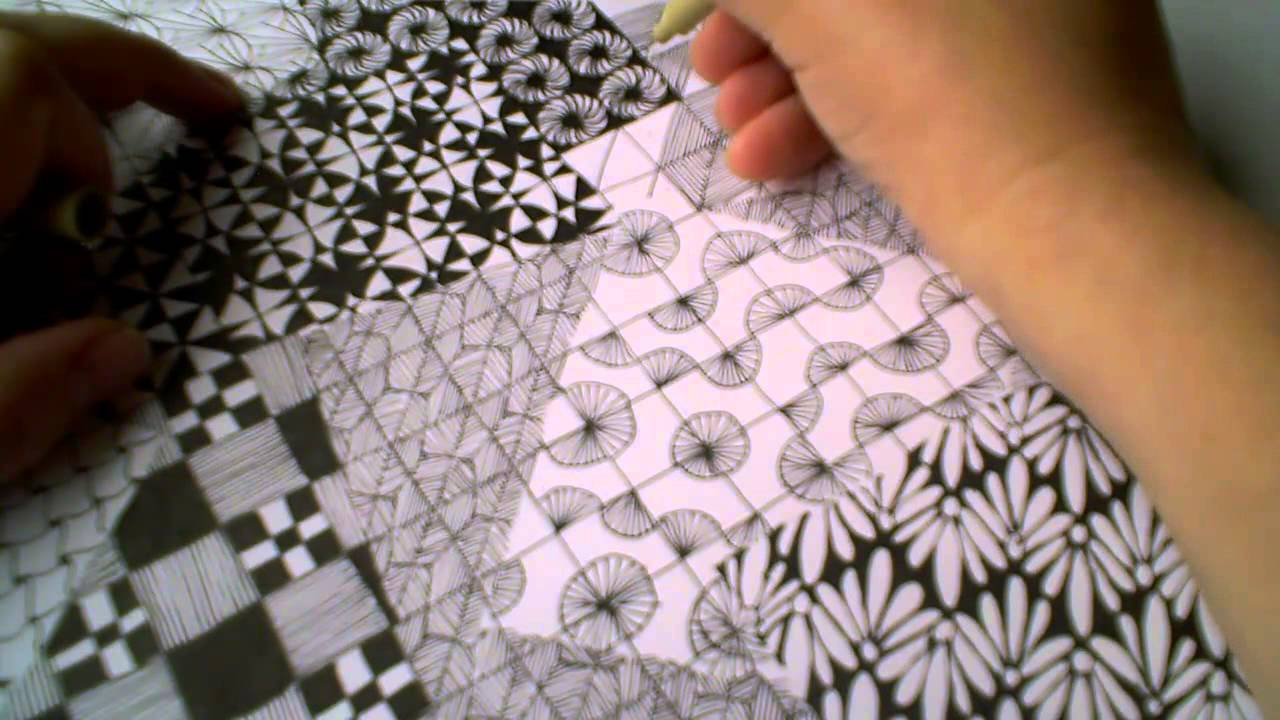 Zentangle Pattern Samplers 1 | For Beginners - Part 4 - YouTube