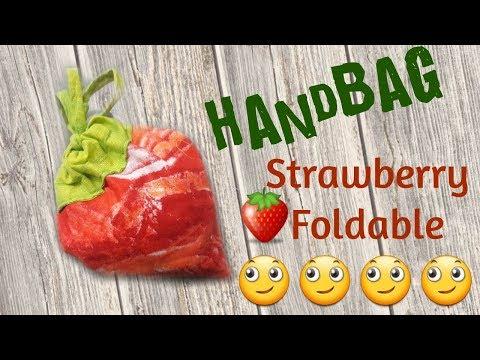 Diy strawberry foldable handbad making // Diy ideas // by simple cutting