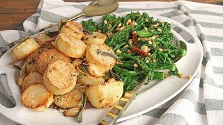 Parm Roasted Potatoes & Garlic Pine Nut Broccolini | Episode 1210