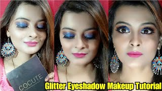 Glitter Eyeshadow Makeup Tutorial for wedding guest makeup look   Ft. cocute brand  