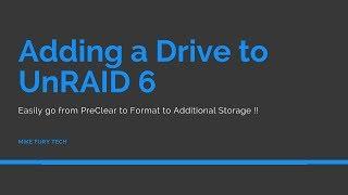 Adding a drive to UnRAID 6