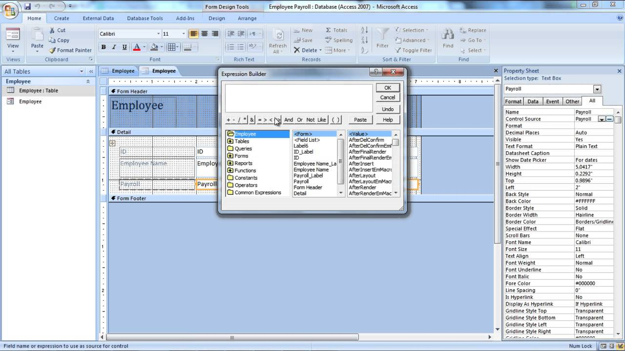How to Use Microsoft Access Expression Builder
