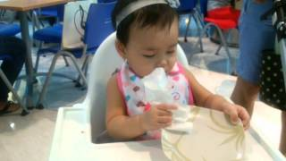 Baby Jacq 10mos cleans her plate before she eats..