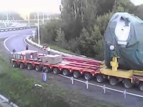 Перевозка паровой турбины (масса груза 203,31 тонны, общая - 400 тонн)
