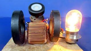 Free energy generator Using Magnet & DC motor - 220V generator light bulb