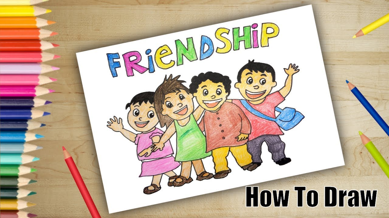 How To Draw Friendship Day Drawing Friends Drawing And Colouring