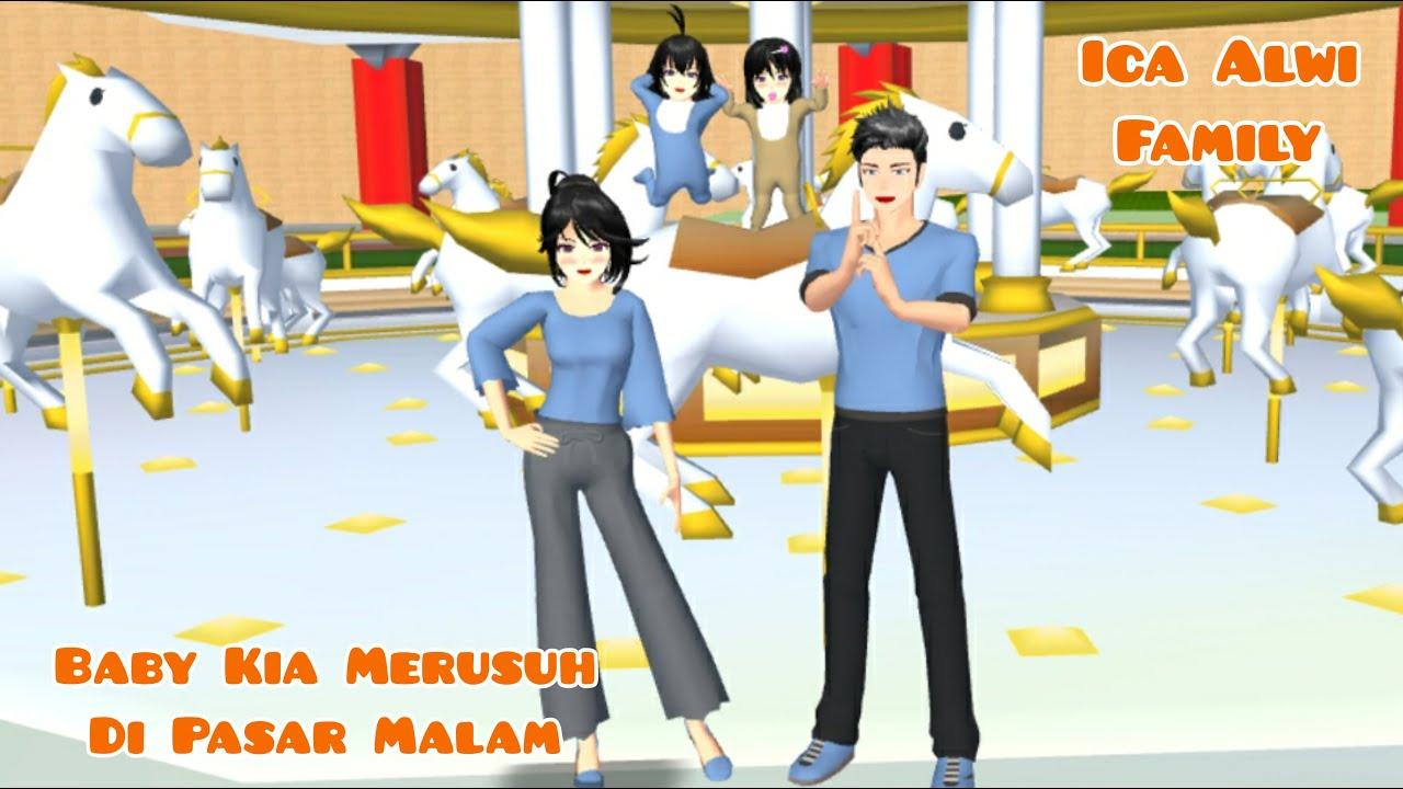 Baby Kia & Rara Jalan-Jalan Ke Pasar Malam   Ica Alwi Family Vlog   Drama Sakura School Simulator
