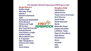 Pro Kabaddi 2019 All Teams Squad (All Players List)