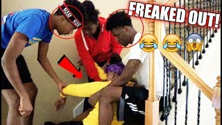 FALLING DOWN THE STAIRS PREGNANT PRANK ON BOYFRIEND, IAM JUST AIRI, CHRIS AND TRAY!!!