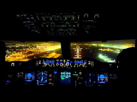 Cockpit View Emirates Airbus A380 Night Landing Dubai