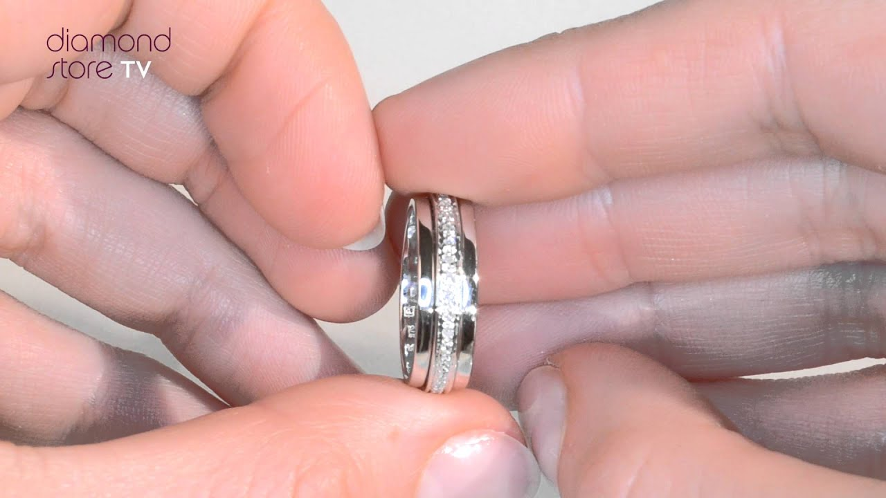 Diamond 5mm Wide 0.25CT Spinners Ring In 9K White Gold - E4610 - YouTube
