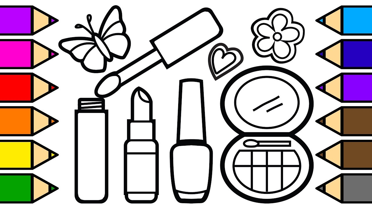 Coloring Lipstick Makeup Coloring Pages for Girls, Learn to Color ...