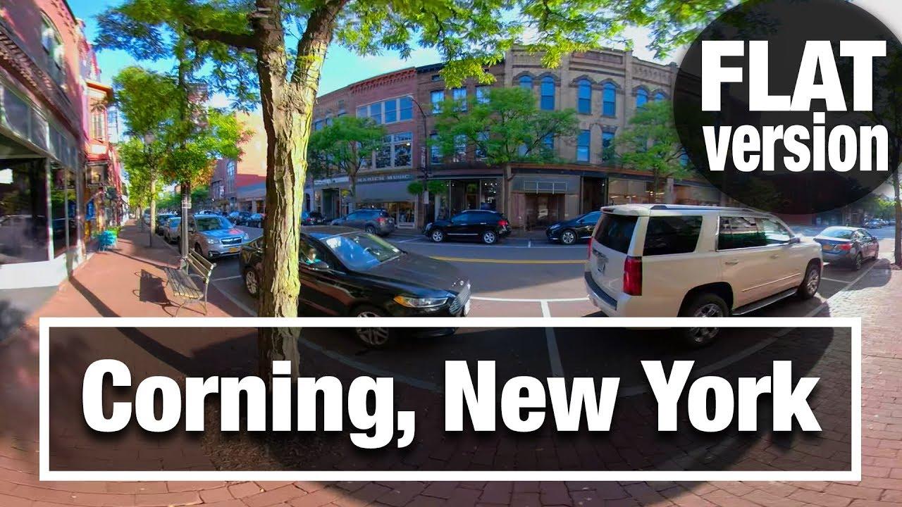 City Walks:  Corning, NY -Flat 2D- Virtual Treadmill Walking Tour