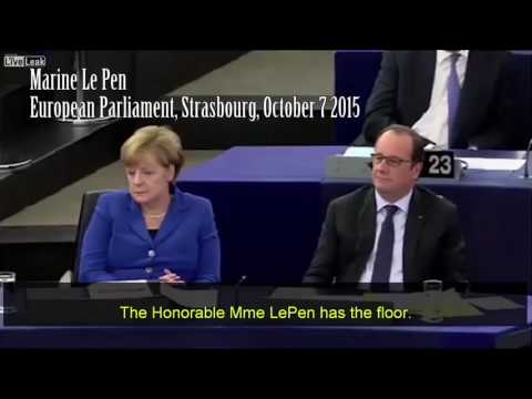 French MP Marine Le Pen speaks at the European Parliament Strasbourg Oct 7th 2015 🇫🇷🇫🇷