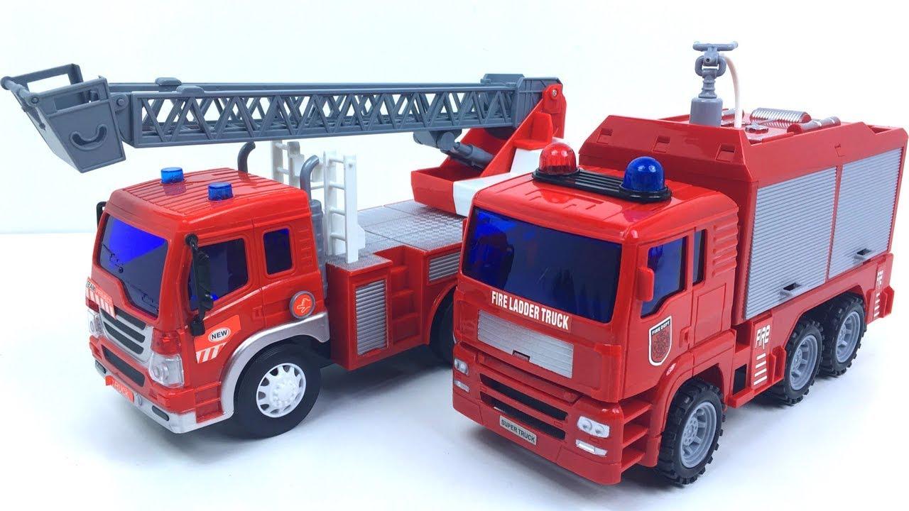 Camiones De Bomberos Con Luces Sonidos Escalera Y Accesorios Coches Infantiles Que Echan Agua Youtube