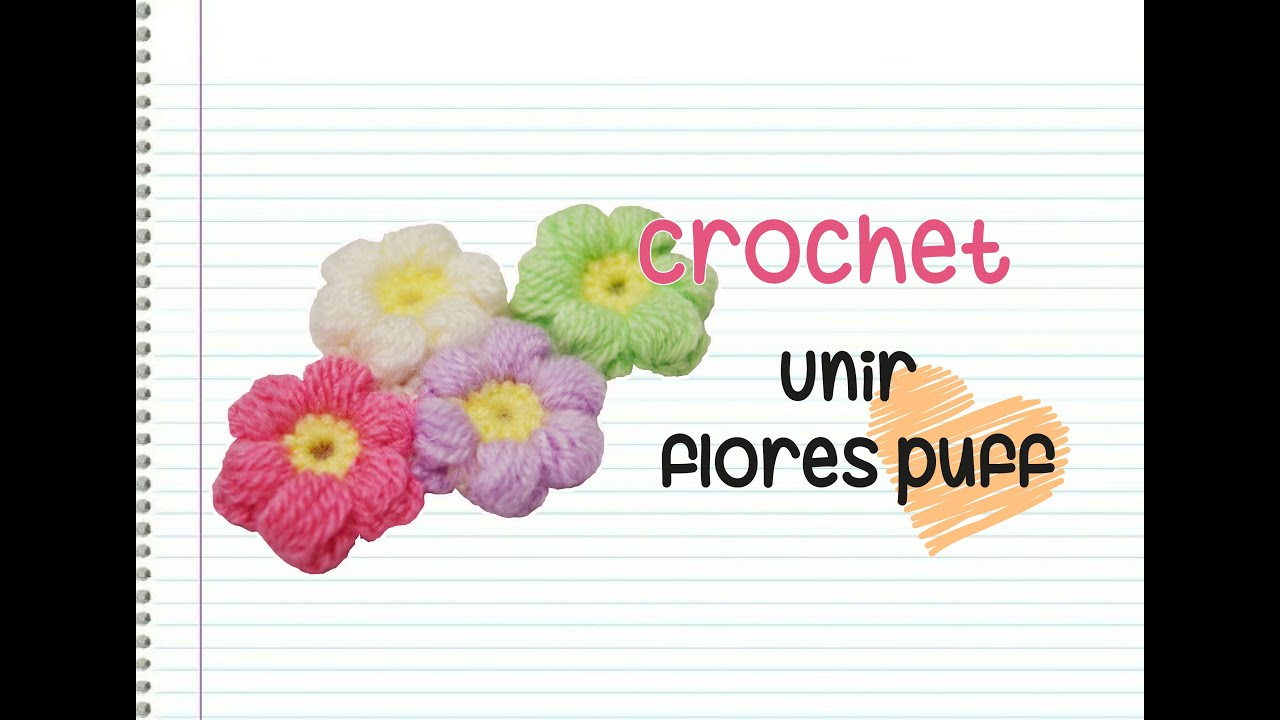 Crochet : Unir flores puff - YouTube