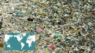 Recycled island from plastic ocean