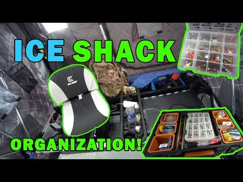 Ice Shack ORGANIZATION And TACKLE STORAGE! How To SETUP Inside Ice Shack