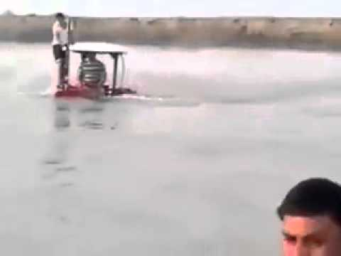 Tractor following on water