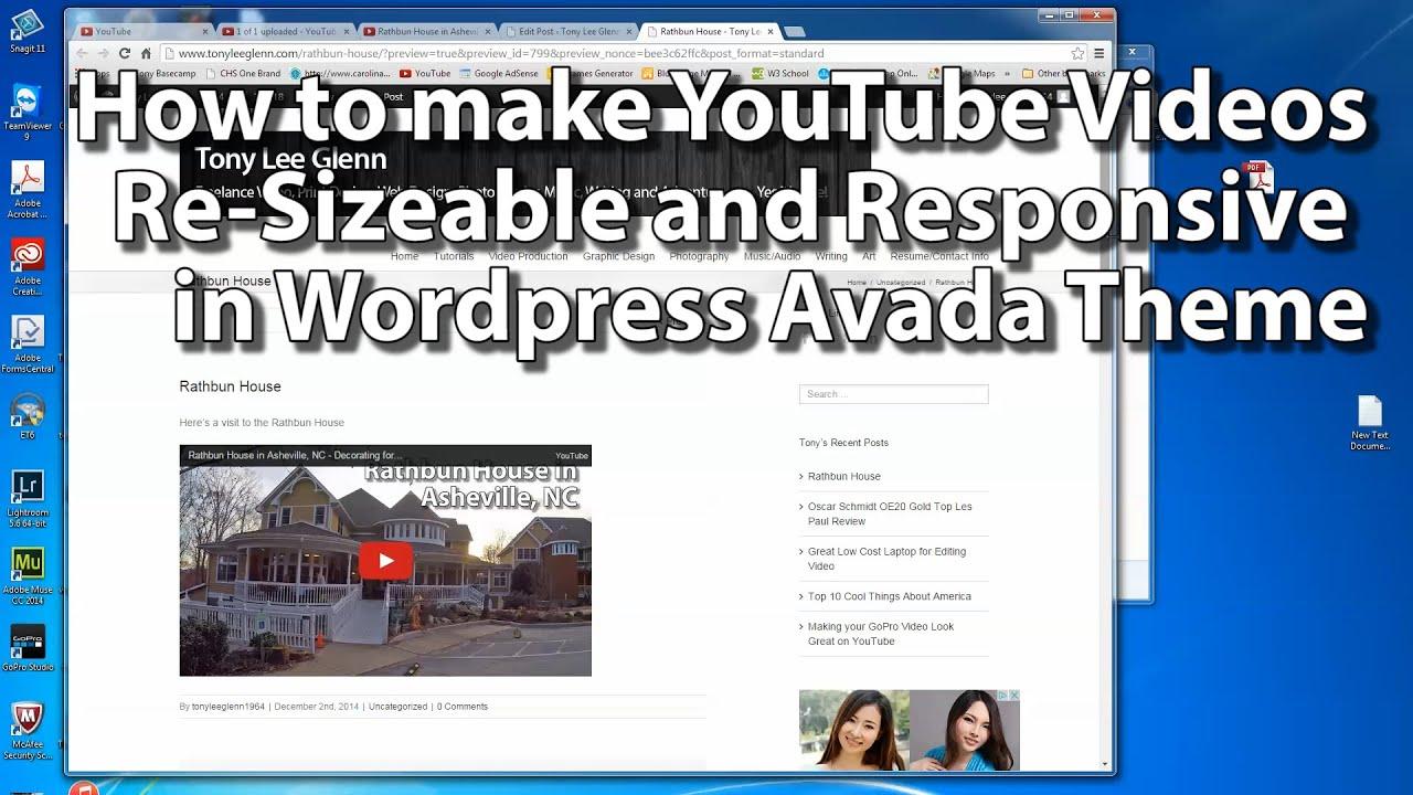 How to make YouTube videos resizable in Responsive Design Wordpress Avada  Theme