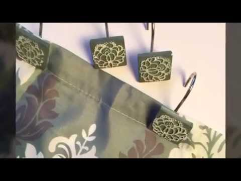 Grey and Blue Damask Shower Curtain and Decorative Hooks