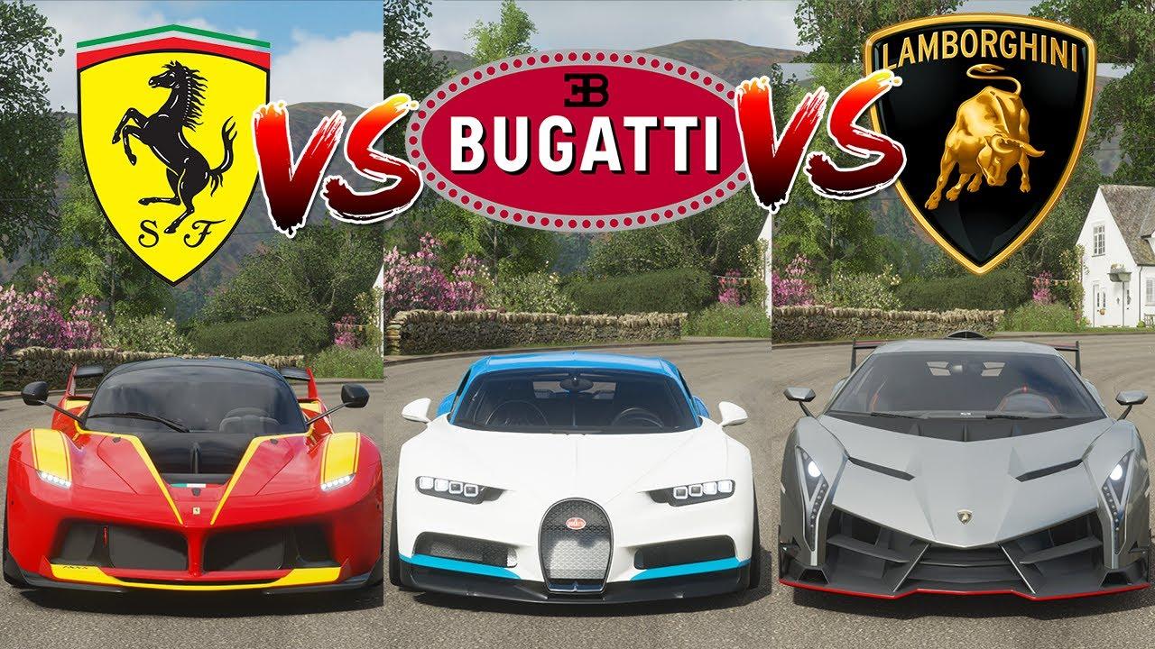Bugatti Vs Ferrari Vs Lamborghini In Forza Horizon 4 Avalanche Gaming Studio Youtube