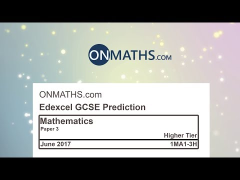 2017 Edexcel Paper 3 Predicted Higher Maths GCSE Paper for Calculator Exam 1MA1/3H