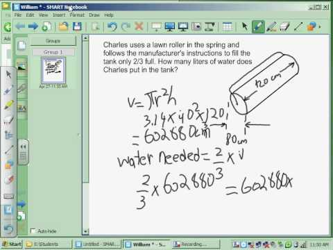Calculate the Volume of Water in a Cylinder by William ...