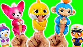 Fingerlings And Baby Shark are dangerous! Help me. Pororo police car go!   PinkyPopTOY