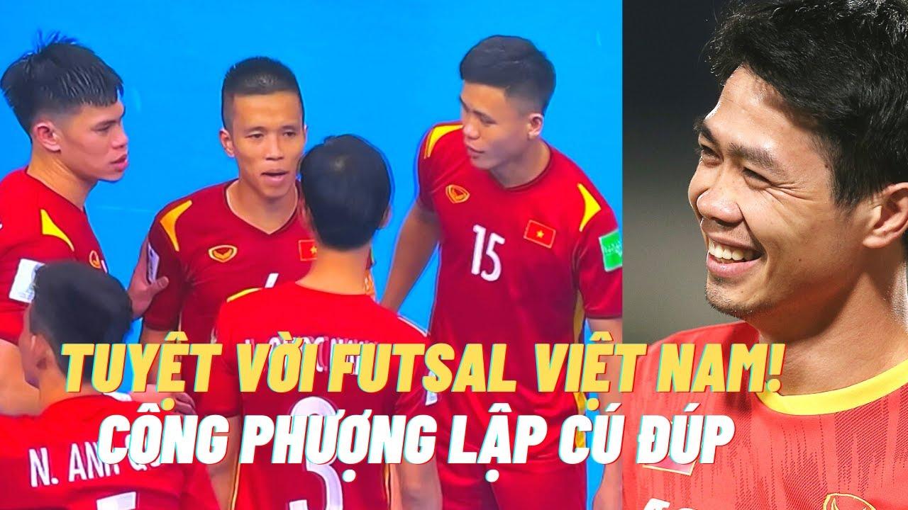 Futsal Việt Nam vào vòng trong - Công Phượng ghi 2 bàn, HLV Park Hang Seo vui