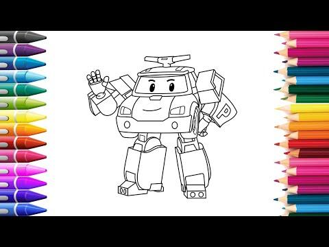 Робокар Поли |  Рисуем Робокара Поли | Учимся рисовать Раскраски для Детей KidsColoring