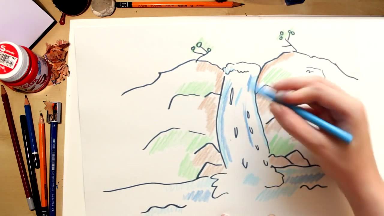 Como Desenhar Uma Cachoeira Desenhos Para Criancas Youtube