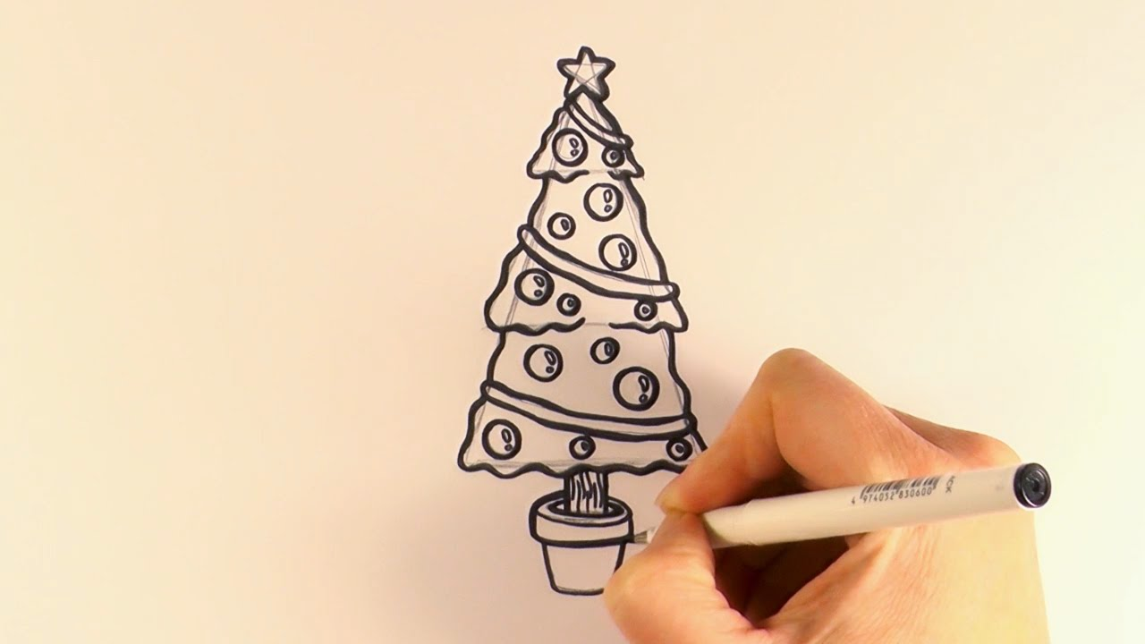 How To Draw A Christmas Tree And Decorations