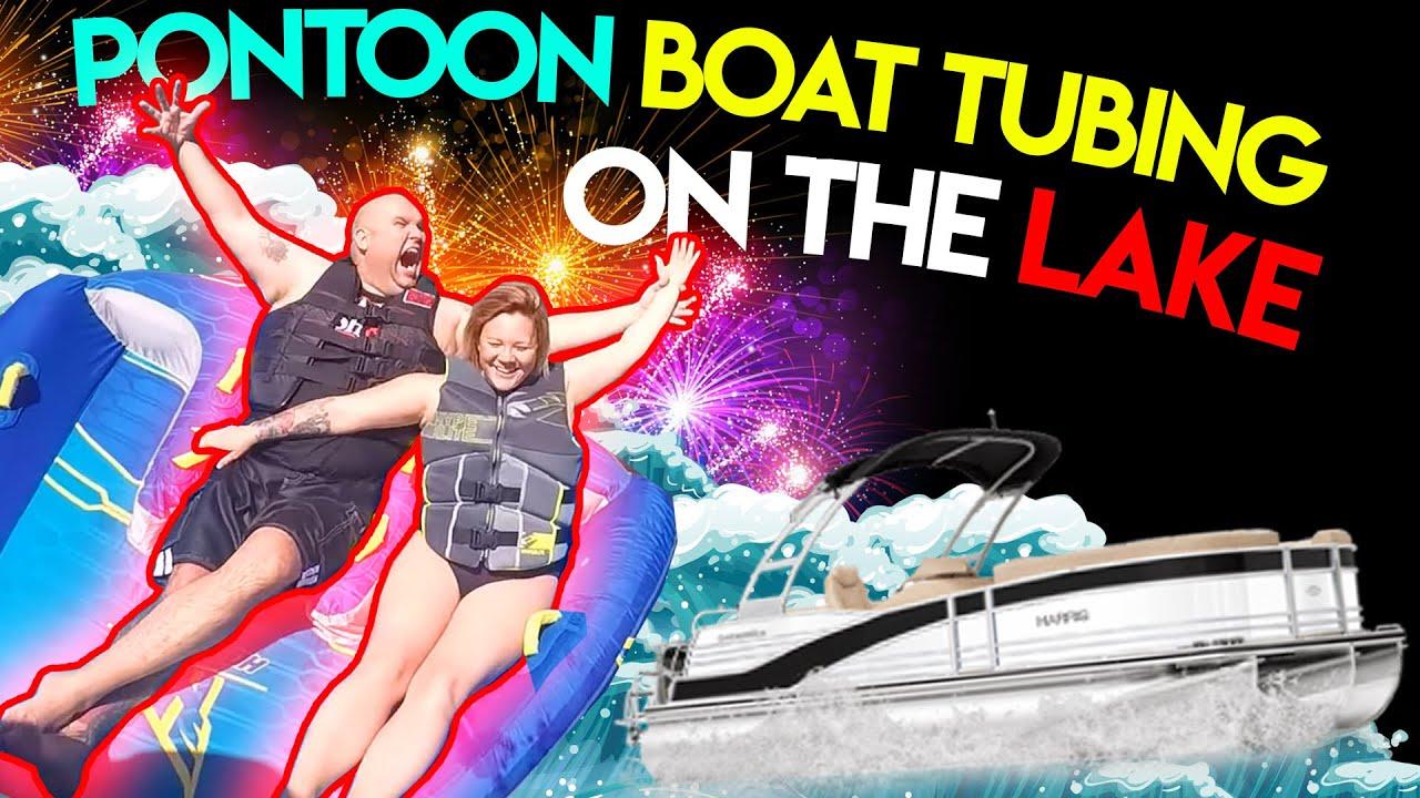 medium resolution of gopro pontoon boat tubing on the lake
