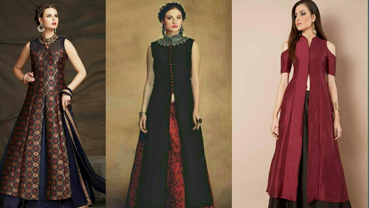 41ad52b102 Latest Designer Long kurtis with Plazo/Kurtis with Skirt/kurtis with front  cut 2017-|Trendy India