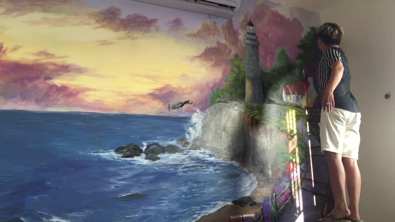 Vẽ tranh tường 3d phong cảnh biển nhà hàng Cánh Buồm 52 trường trinh Hà Nội lh 0908766656