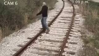 MAN GETS HIT BY A TRAIN!!! (GRAPHIC)
