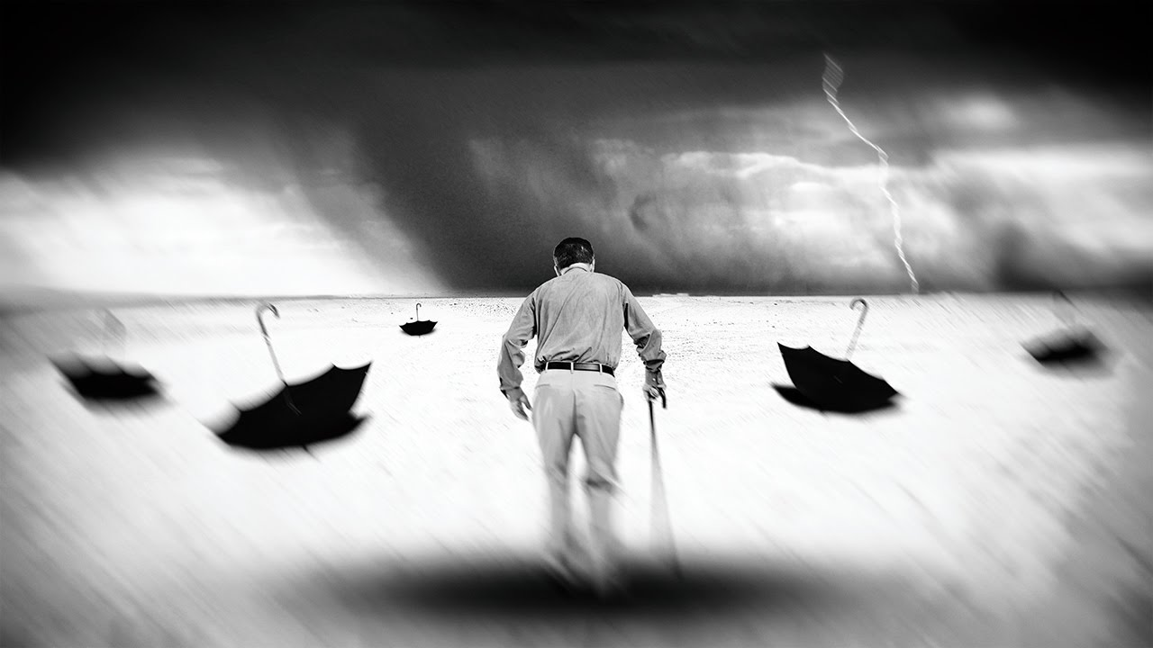 Walking alone surreal photo manipulation dramatic black and white photo photoshop tutorial
