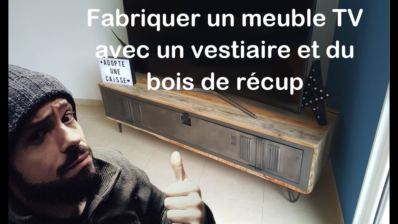 comment fabriquer un meuble tv avec vestiaire et bois de r cup by adopteunecaisse maker youtube. Black Bedroom Furniture Sets. Home Design Ideas