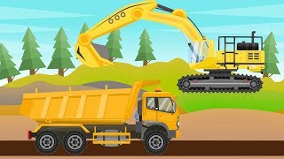 #Excavator, Truck and Asphalt milling machine | Construction vehicles | Road works | Maszyny
