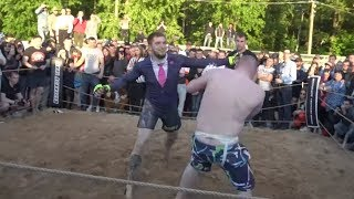 Man in jacket vs Fat boy !! strange fight !!