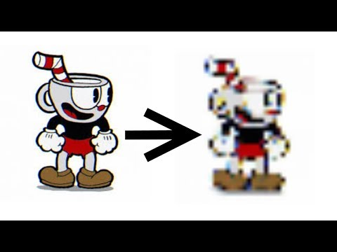 The Cuphead tutorial but every time he fails that jump it gets more pixelated