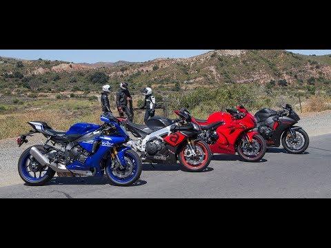 Yamaha YZF-R1 Vs. Aprilia RSV4 RR Vs. Suzuki GSX-R1000 Vs. Honda CBR1000RR On The Street Review
